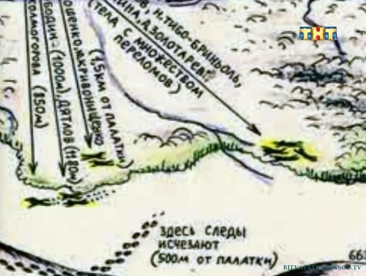 палатка Дятлова план схема